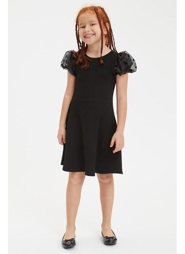 DeFacto Kız Çocuk Puantiyeli Tül Detaylı Elbise Siyah